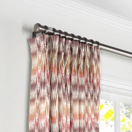 Orange & Pink Flame Stitch Pleated Curtains Close Up