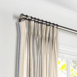 Blue Burlap-Style Stripe Pleated Curtains Close Up