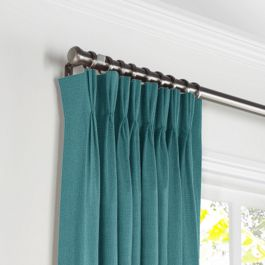 Dark Teal Linen Pleated Curtains Close Up