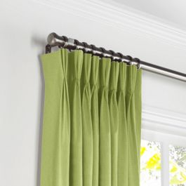 Grass Green Slubby Linen Pleated Curtains Close Up