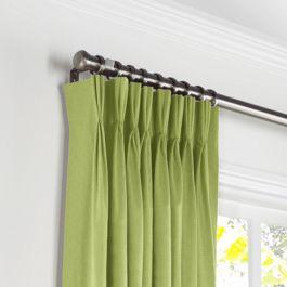 Grass Green Slubby Linen Pleated Curtains Close Up