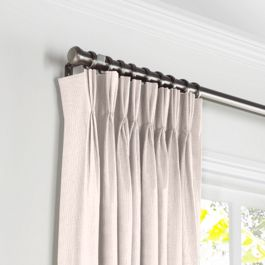 Light Pink Slubby Linen Pleated Curtains Close Up