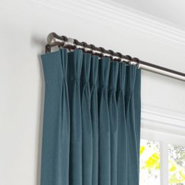 Dark Navy Slubby Linen Pleated Curtains Close Up