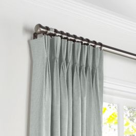 Gray Slubby Linen Pleated Curtains Close Up