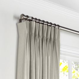 Beige Slubby Linen Pleated Curtains Close Up