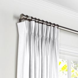 Bright White Slubby Linen Pleated Curtains Close Up