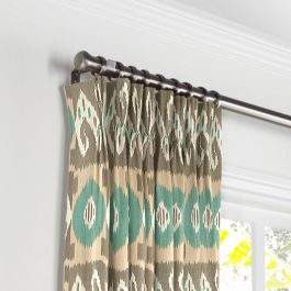 Handwoven Tan & Teal Ikat Pleated Curtains Close Up