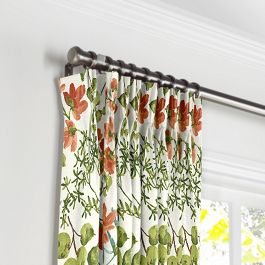 Coral Watercolor Floral Pleated Curtains Close Up