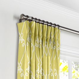 Embroidered Green Scroll Pleated Curtains Close Up