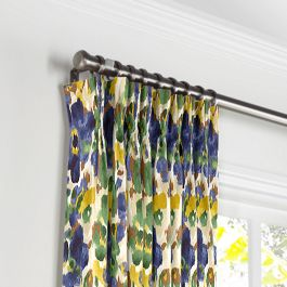 Green & Blue Watercolor Pleated Curtains Close Up