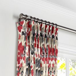Gray & Red Watercolor Pleated Curtains Close Up