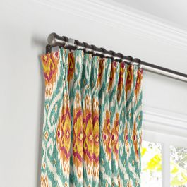Turquoise & Red Ikat Medallion Pleated Curtains Close Up