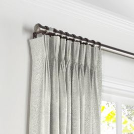 Metallic Silver Shagreen Pleated Curtains Close Up