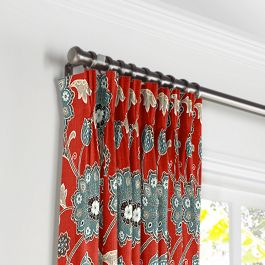 Aqua & Red Floral Pleated Curtains Close Up