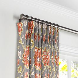 Coral & Gray Floral Pleated Curtains Close Up