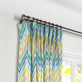 Gray, Green & Blue Chevron Pleated Curtains Close Up