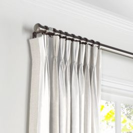 Light Beige Awning Stripe Pleated Curtains Close Up