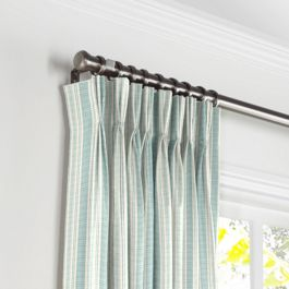 Handwoven Aqua Stripe Pleated Curtains Close Up