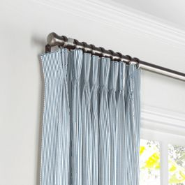 Blue Ticking Stripe Pleated Curtains Close Up