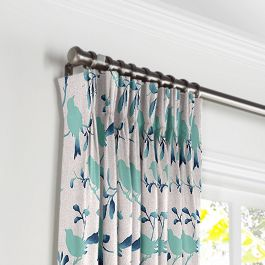 Aqua Blue Bird Pleated Curtains Close Up