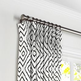 Black & White Diamond Pleated Curtains Close Up