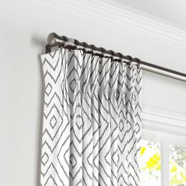 White & Gray Diamond Pleated Curtains Close Up