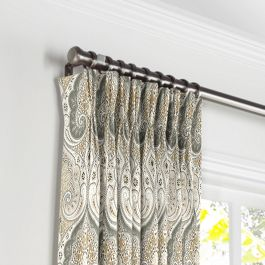 Gray & Tan Paisley Pleated Curtains Close Up