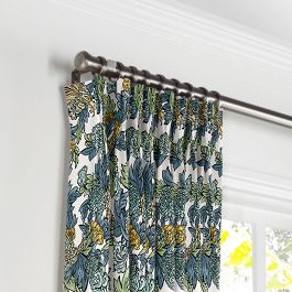 Aqua Chinoiserie Dragon Pleated Curtains Close Up