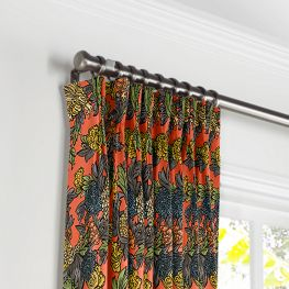 Red Chinoiserie Dragon Pleated Curtains Close Up