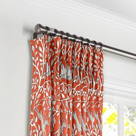 Red Animal Motif Pleated Curtains Close Up