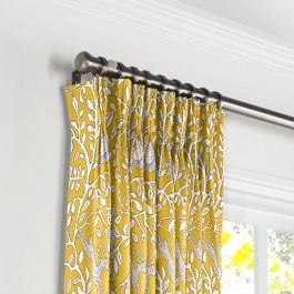 Yellow Animal Motif Pleated Curtains Close Up