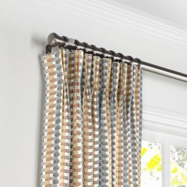 Mod Gray & Orange Geometric Pleated Curtains Close Up