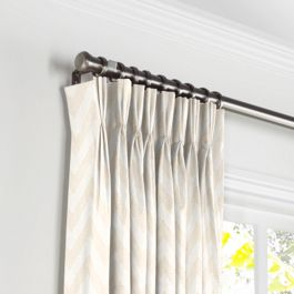 Metallic White & Gold Chevron Pleated Curtains Close Up