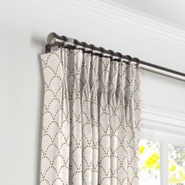 Embroidered Taupe Scallop Pleated Curtains Close Up