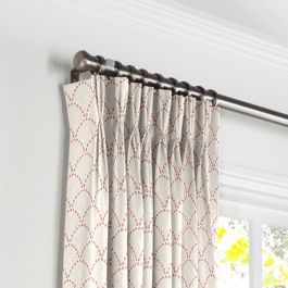 Embroidered Pink Scallop Pleated Curtains Close Up
