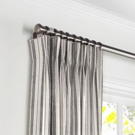 Rustic Gray Stripe Pleated Curtains Close Up