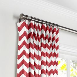 White & Red Chevron Pleated Curtains Close Up