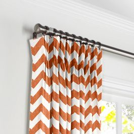 White & Orange Chevron Pleated Curtains Close Up