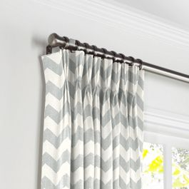 Light Gray Chevron Pleated Curtains Close Up