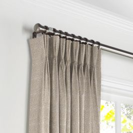 Silvery Gray Metallic Linen Pleated Curtains Close Up
