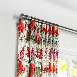 Bold Green & Red Floral Pleated Curtains Close Up