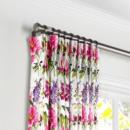 Chintz-like Pink Floral Pleated Curtains Close Up