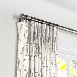 Embroidered Gold Trellis Pleated Curtains Close Up