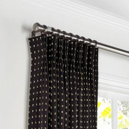 Gold Studded Black Pleated Curtains Close Up