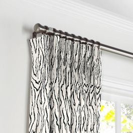 Black & White Animal Print Pleated Curtains Close Up