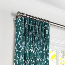 Teal Animal Print Pleated Curtains Close Up