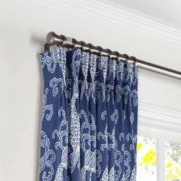 Royal Blue Koi Fish Pleated Curtains Close Up