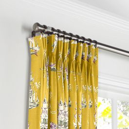 Purple & Yellow Chinoiserie Pleated Curtains Close Up