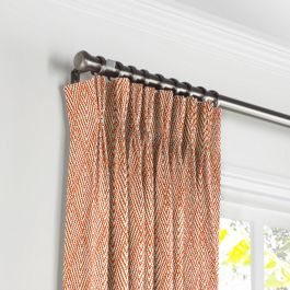 Tribal Orange Diamond Pleated Curtains Close Up