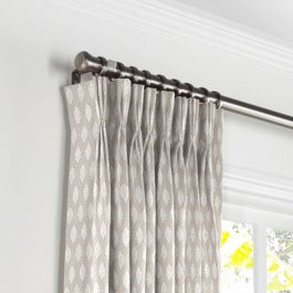 Light Taupe Diamond Pleated Curtains Close Up